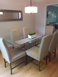 Glass Dining Table & Leather Chairs