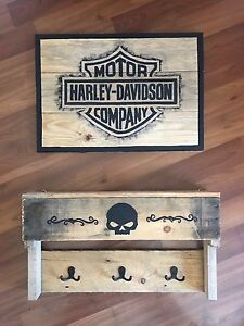 Harley Davidson Coat Rack & Sign.