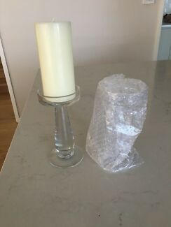 Glass candle holders x10