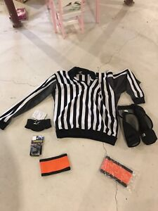 Referee shirt whistle arm bands elbow pads neck guard