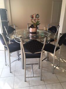 Round Glass Kitchen Table with 6 Chairs