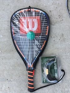 New racquetball, ball and goggles