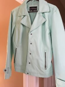 Ladies Brand New Faux Leather Mint Green Jacket