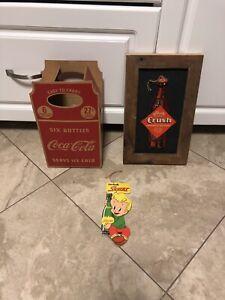 Orange crush Coca Cola squirt cardboard signs fan pulls
