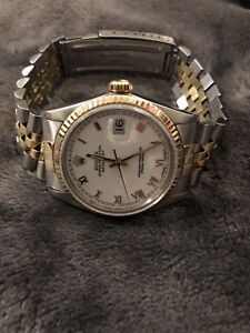 Rolex Two Tone 18k DateJust 16013 36mm with White Roman Dial