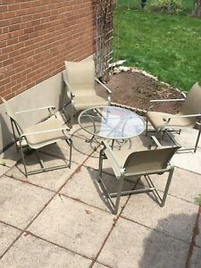 Outdoor patio lounge furniture.