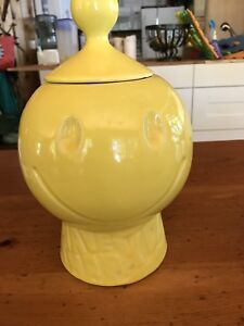 Happy Face Yellow Cookie  Jar