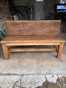 Wood bench church pew