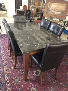 Beautiful Marble Table with 6 High Back Chairs
