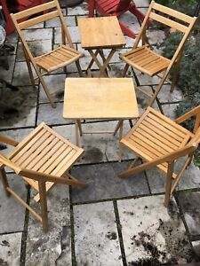 Wood vintage folding chairs and tables