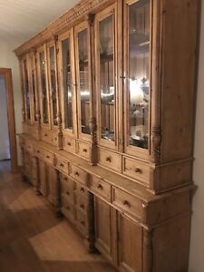 Antique Pine Sideboard and Hutch Cabinet