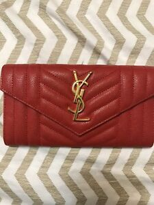 YSL RED CAVIAR LEATHER WALLET