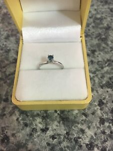 Dainty Gold ring with Blue Diamond