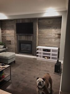 Reclaimed century old barn wood custom accent walls/ fireplace
