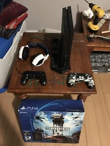Ps4. Two controllers. Gaming headset