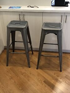 Stainless Steel Bar Height Stools (Set of 2)