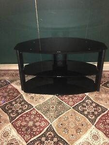 Black glass and steel tv stand