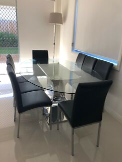 Chrome & Glass Dining Table with 8 Leather Black Chairs