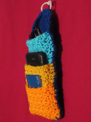 Crocheted Cell Phone Holder (HANDMADE Knit CROCHET Hanging CELL PHONE Sunglass POUCH POCKET Accessory HOLDER! )