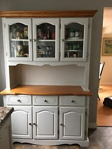 Solid wood cabinet with hutch
