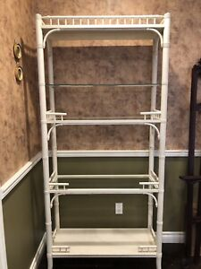 White bamboo bookcase or display case