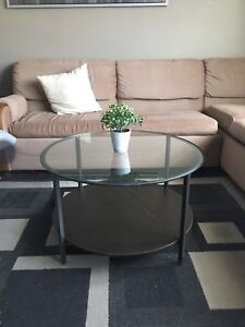 Excellent Condition Glass IKEA Coffee Table - Brown/Black