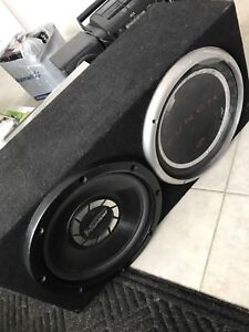 12' Sub with Amp and box. Pioneer & Rockford Fosgate