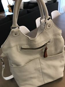 Large white Roots purse