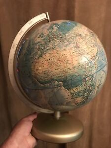 "Globe - Vintage 12"" diameter desk globe with metal stand"