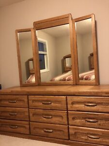 Dresser with mirror, and king size headboard