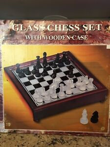 Glass Chess Set with wooden case Brand New in box