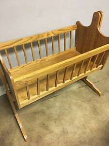 Solid Oak Baby Cradle Crib