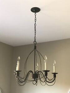 Wrought Iron 6 Candle style Chandelier