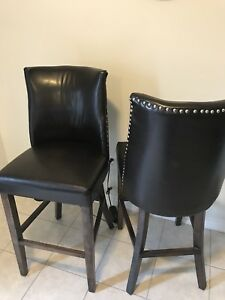 Brown faux leather counter height chairs