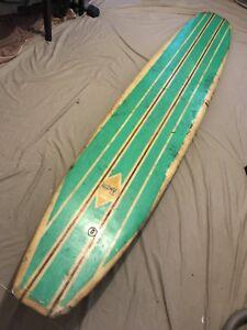 LONGBOARD,MAL,MALIBU,SURFBOARD, 50S ? , AT WARABROOK,NEWCASTLE
