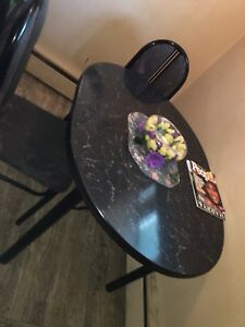 Black marble dining table