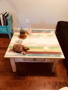 Beachy refurbished couch table