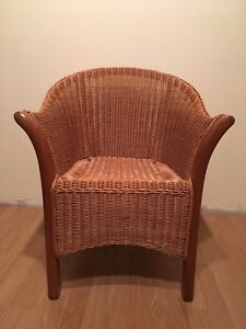 Wicker and solid wood chair