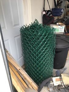 Chain link fence green with posts 120 obo