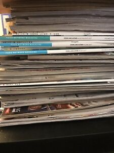 Stack of Food Network, Bon Appetit and other magazines
