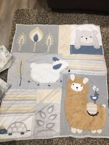 Ivy and Lambs set with extra crib sheets.