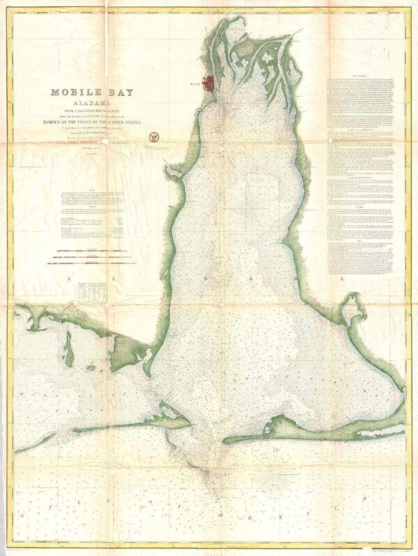 1856 Coastal Survey Map Nautical Chart of Mobile Bay Alabama