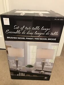 Brand New Set of Two Brush Nickel Finish Table Lamps