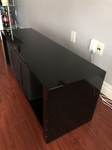 Black glass entertainment unit
