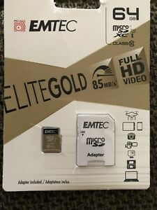Emtec 64gb micro sd card with adapter in package