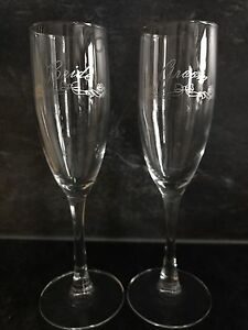 Bride and groom champagne glasses.