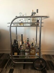 CONDO MOVING SALE: LARGE DESIGNER GLASS BAR CART