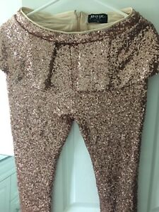 Nasty Gal XS rose gold sequinned peplum pants
