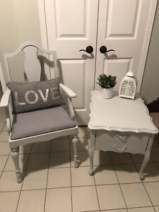 Solid wood refinished captains chair and table