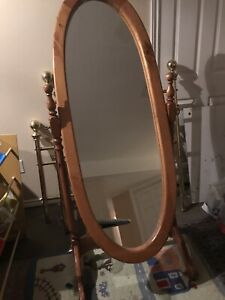 Large oval solid wood tilting mirror